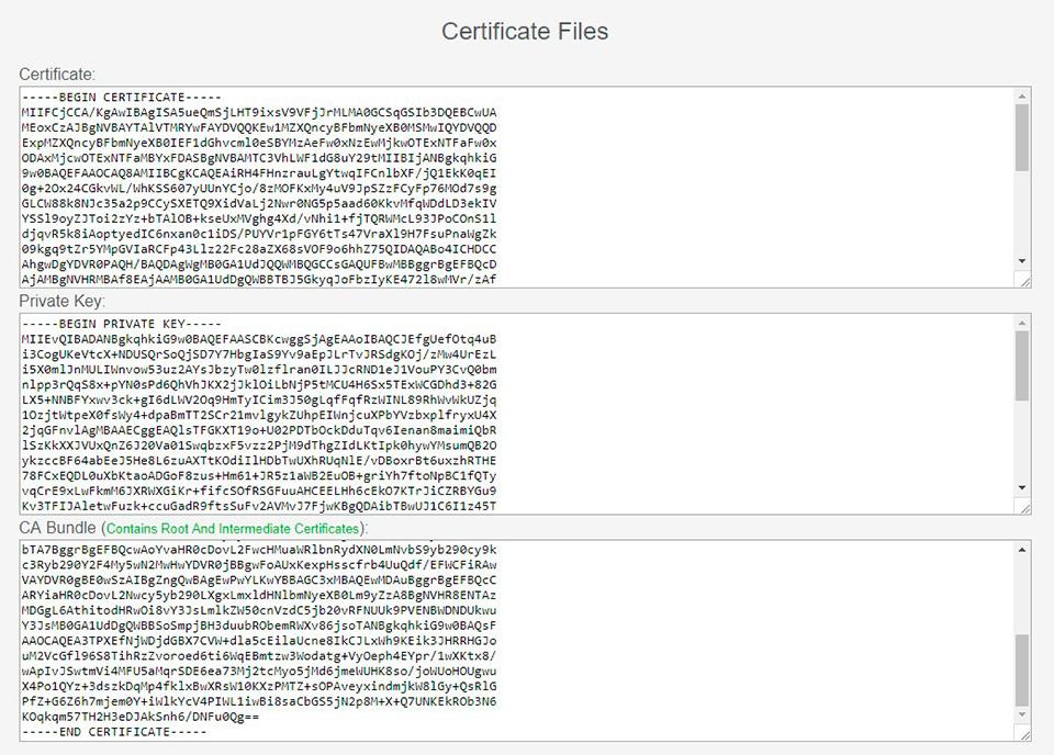 Файлы SSL-сертификата